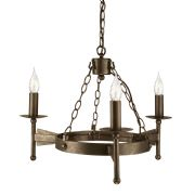 Cromwell 3 Light Medieval Style Chandelier in an Old Bronze Finish - ELSTEAD CW3